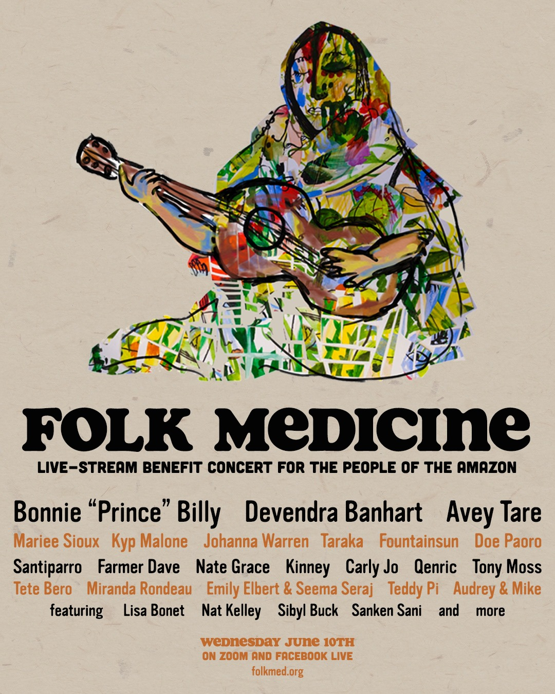 Folk Medicine: Live-stream benefit concert for the people of Amazon, 6/10